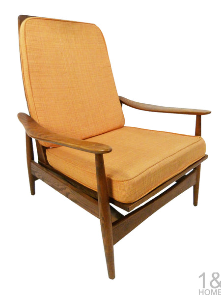 Danish Modern Oak Lounge Rocking Chair manner of Milo Baughman 1