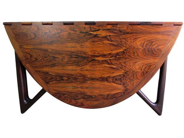 Kurt Ostervig Rosewood Drop Leaf Dining Table