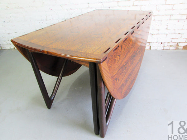 Kurt Ostervig Danish Modern Rosewood Drop Leaf Dining Table img 3