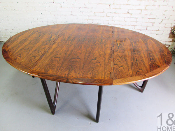 Kurt Ostervig Danish Modern Rosewood Drop Leaf Dining Table img 4