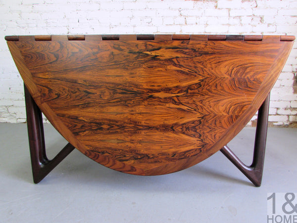 Kurt Ostervig Danish Modern Rosewood Drop Leaf Dining Table img 2