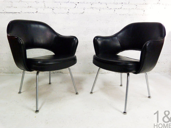 Eero Saarinen for Knoll Black Executive Armchairs