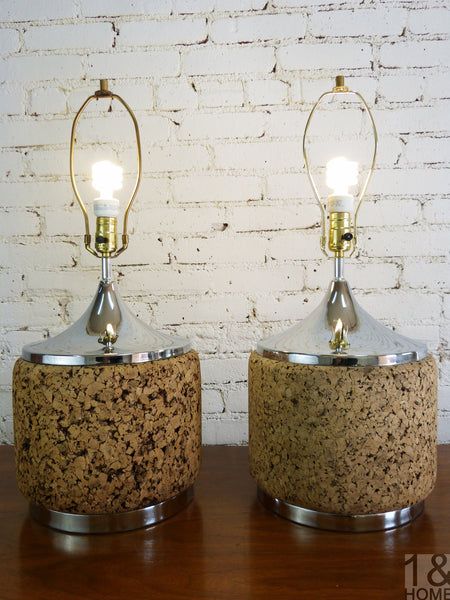 Pair - Mid-Century Chrome and Cork Table Lamps by Laurel