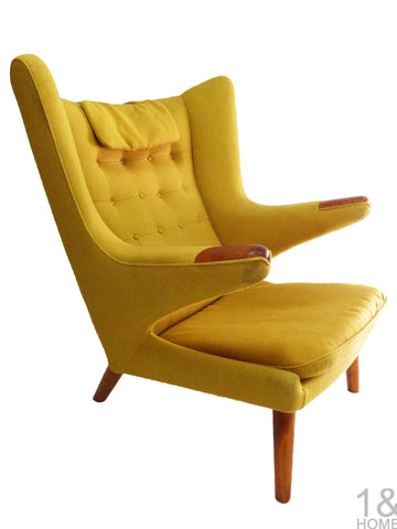 Yellow AP-19 Original Papa Bear Chair by Hans Wegner for AP Stolen 1