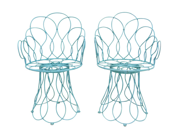 Art Deco-style wrought iron blue round patio chairs 1