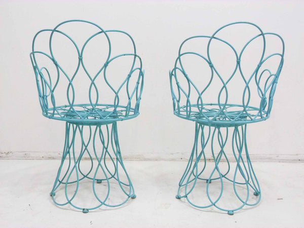 Art Deco-style wrought iron blue round patio chairs 3