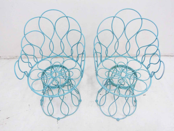 Art Deco-style wrought iron blue round patio chairs 4