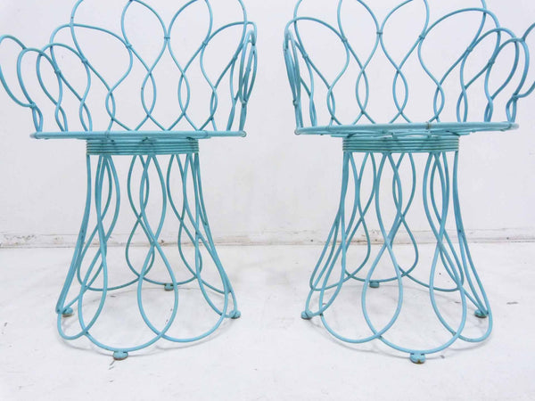 Art Deco-style wrought iron blue round patio chairs 5