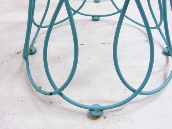 Art Deco-style wrought iron blue round patio chairs 8