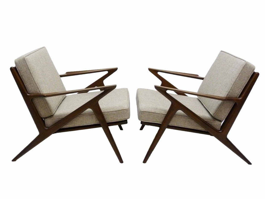 Poul Jensen Selig Danish Modern Denmark Lounge Z Chair Pair 1