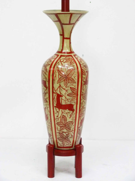 Japanese Hand Painted Ceramic Red Deer Table Lamp 3