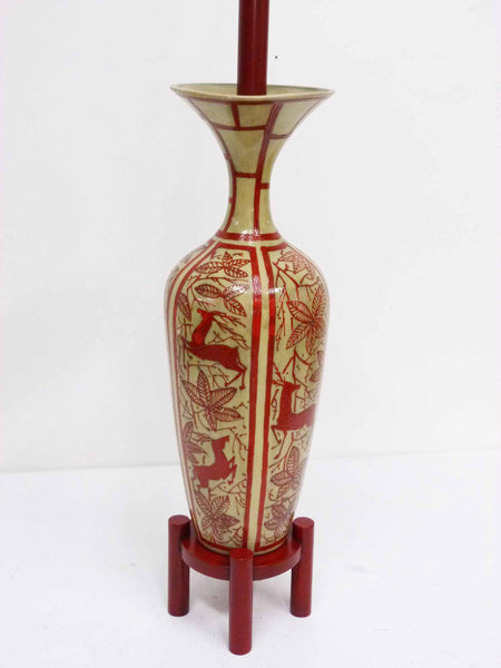 Japanese Hand Painted Ceramic Red Deer Table Lamp 6