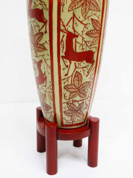 Japanese Hand Painted Ceramic Red Deer Table Lamp 7
