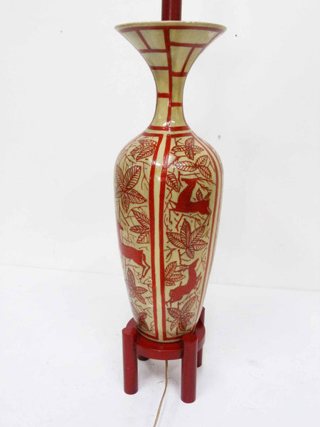 Japanese Hand Painted Ceramic Red Deer Table Lamp 8