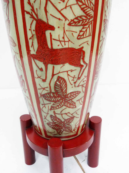 Japanese Hand Painted Ceramic Red Deer Table Lamp 9