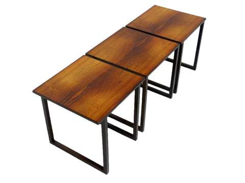 Rosewood Cube Nesting Stacking Tables Kai Kristiansen danish Modern