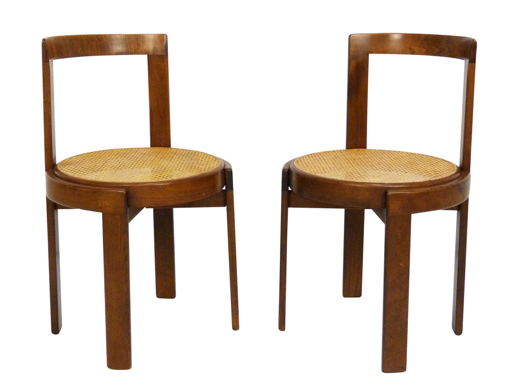 Italian Mid Century Modern Round Bentwood Cane Chairs 1