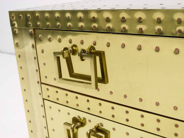 Brass Three Drawer Chest by Sarreid, Ltd