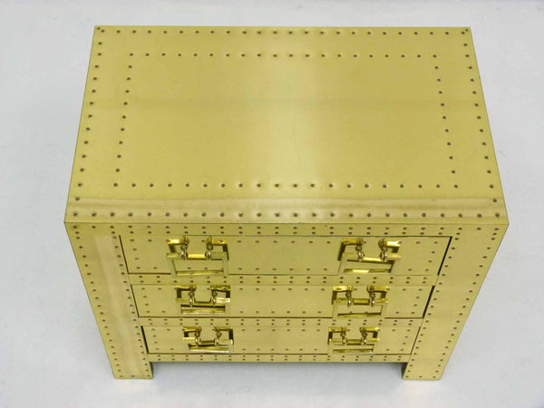 Sarreid Vintage Brass Three Draser Chest night stand table 2