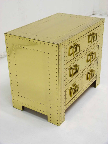 Sarreid Vintage Brass Three Draser Chest night stand table 4