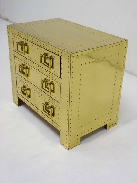 Sarreid Vintage Brass Three Draser Chest night stand table 5