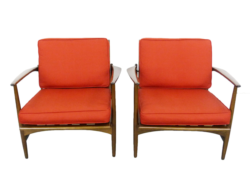 This sculptural pair of lounge chairs by ib kofod larsen is no longer - Ib Kofod Larsen For Selig Lounge Chairs Mid Century Danish Modern 1
