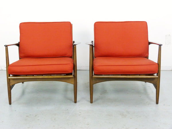 IB Kofod Larsen for Selig Lounge Chairs Mid-Century Danish Modern 2