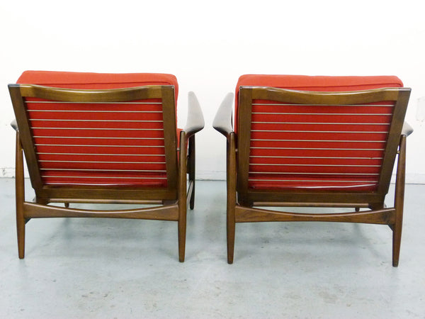 IB Kofod Larsen for Selig Lounge Chairs Mid-Century Danish Modern 4