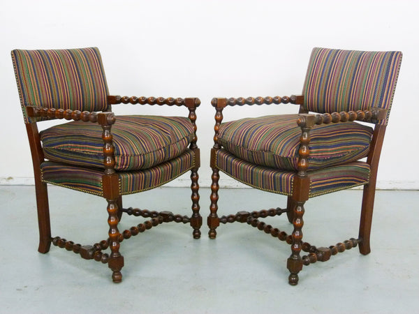 Antique spool walnut armchair chair vintage Img 2