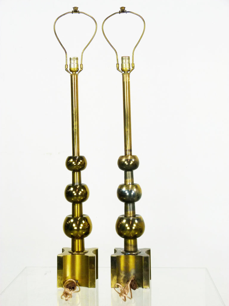 Stiffel graduated brass ball table lamps mid century oneandhome stiffel graduated brass ball table lamps pair aloadofball Images