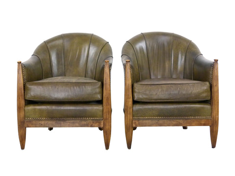 French Art Deco F112 Barrel Chairs Swaim Img 1