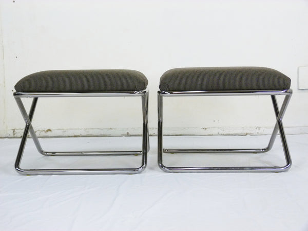 X-Base Chrome Benches By Swaim Originals, Pair