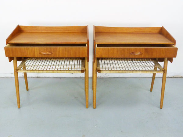 Bedside Tables Danish Modern Teak Caned Shelf Drawer Img 2
