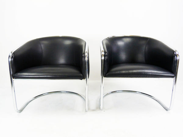Thonet Barrel Back Club Cantilever Lounge Chairs Vintage Modern  Img 2