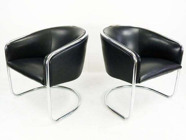 Thonet Barrel Back Club Cantilever Lounge Chairs Vintage Modern  Img 4