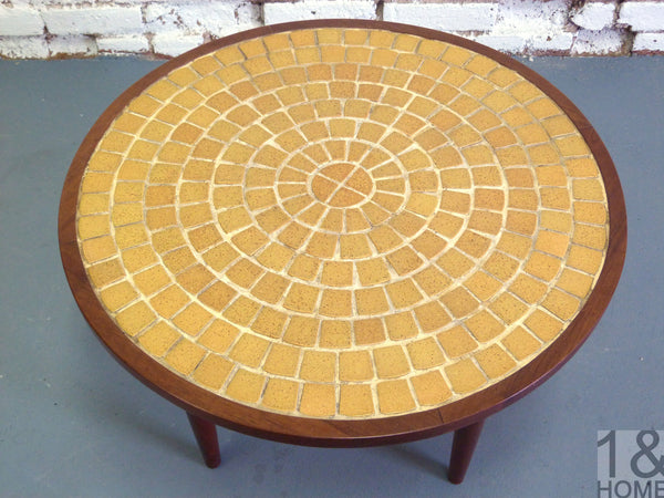 Mid-Century, chartreuse mosaic tile side table 2