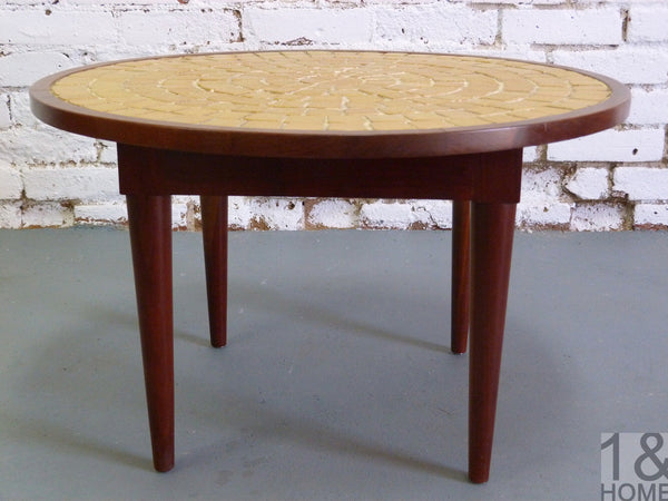 Mid-Century, chartreuse mosaic tile side table 3