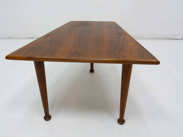 Three Leg Trapezoid Walnut Side Table