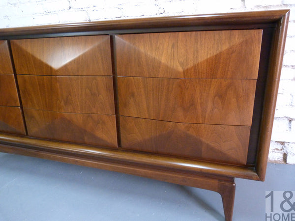 Diamond Front Mid-Century Dresser / Credenza by United Furniture