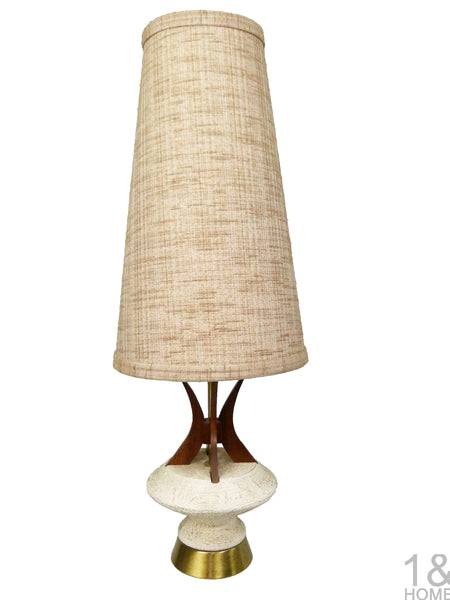 Sculptural Mid-Century Modern Table Lamp Walnut Accent by Plasto  1