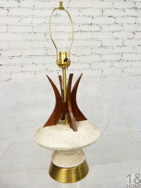 Sculptural Mid-Century Modern Table Lamp Walnut Accent by Plasto  3