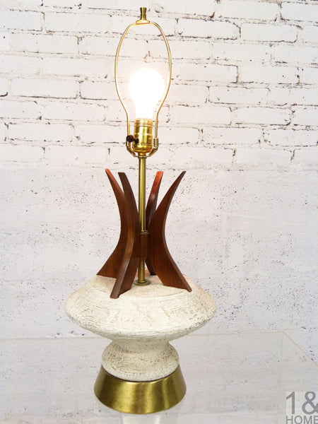Sculptural Table Lamp Walnut Accent by Plasto
