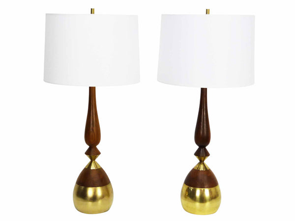 Walnut Brass Sculptural Table Lamps mid-century modern tony paul 1