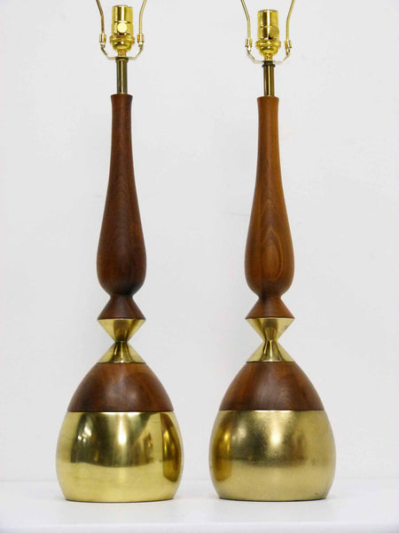 Walnut and Brass Sculptural Table Lamps, Pair