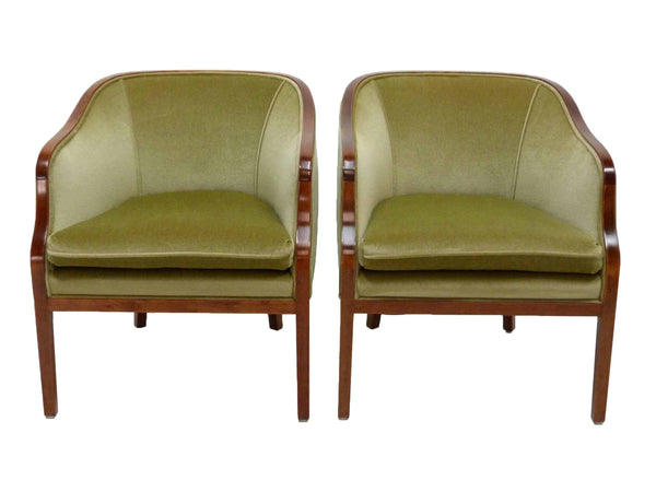 Ward Bennett Brickel Associates Mid Century Modern Club Loung Chairs Mohair Pair 1