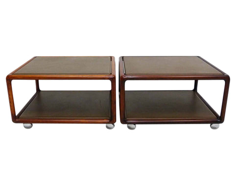 Ward Bennett Occasional Leather Side Tables Brickel Associates Pair 1