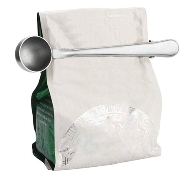 Stainless Steel Coffee Measuring Scoop with Bag Seal Clip