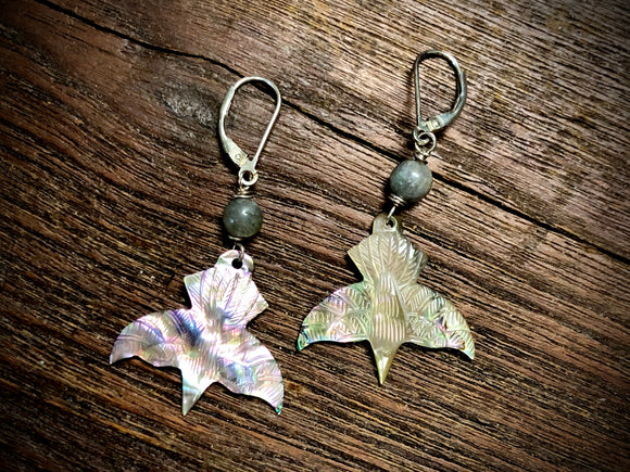 Mother of Pearl and Labradorite Raven Earrings By Andrew Thornton
