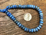 Denim Lapis Matte 8mm Rondelle Large Hole Beads