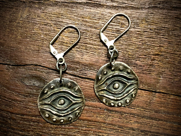 Fine Silver Protective Eye Earrings by Andrew Thornton